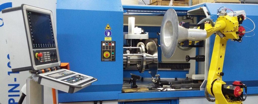 Photo of a DENN eSPIN-100 CNC metal spinning machine.
