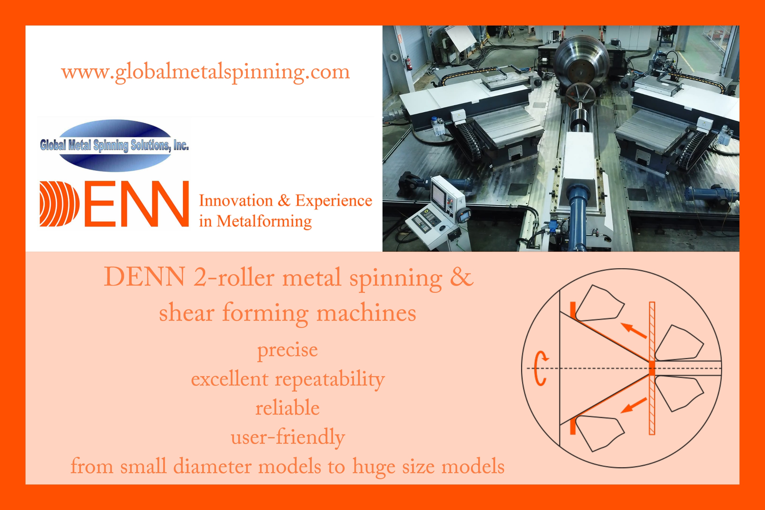 DENN 2-roller metal spinning and shear forming machine