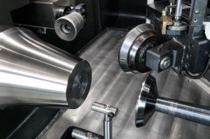 DENN metal spinning machine working area